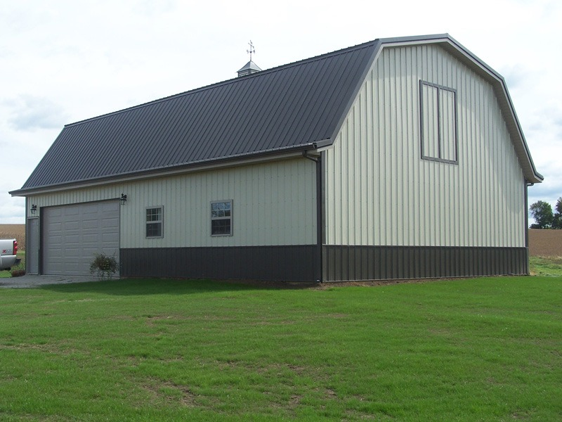 Roofing installation and pole bar construction for Barn style metal buildings